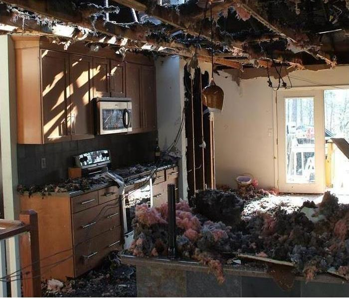 severly fire damaged kitchen