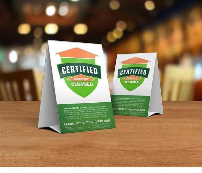 Certified: SERVPRO Cleaned table tents