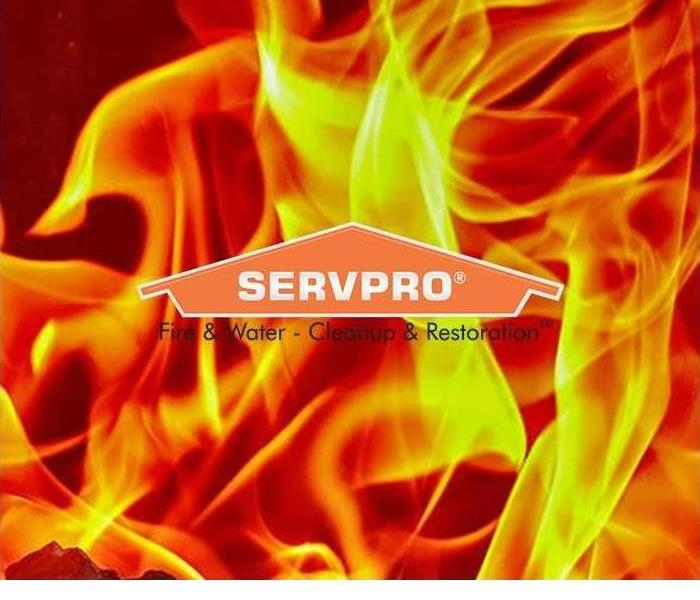 SERVPRO logo with flames in background
