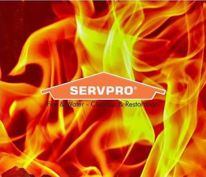 SERVPRO logo with flames in the background