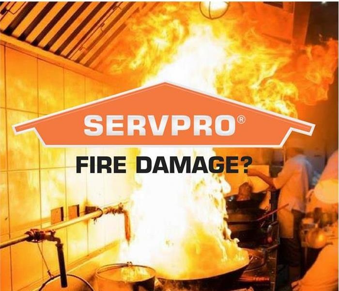 Servpro logo with kitchen fire in background
