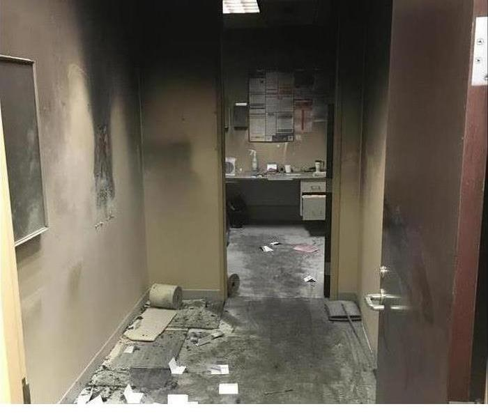 fire damaged office building hall